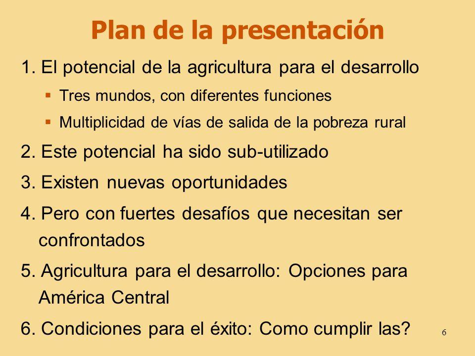 6 Plan de la presentación 1. El potencial de la agricultura para el desarrollo Tres mundos, con diferentes funciones Multiplicidad de vías de salida d