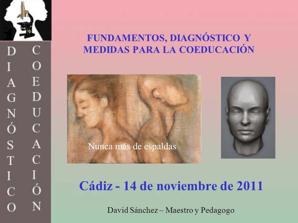 FUNDAMENTOS, DIAGNÓSTICO Y MEDIDAS PARA LA COEDUCACIÓN Cádiz - 14 de noviembre de 2011 David Sánchez – Maestro y Pedagogo