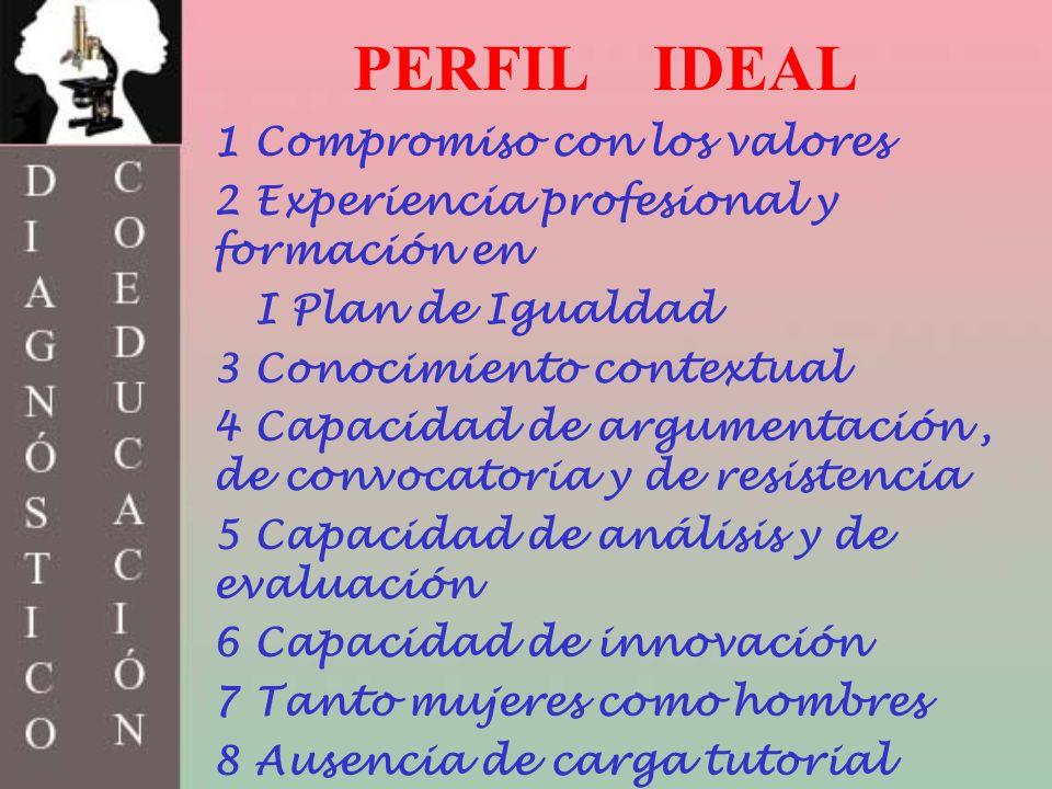 PERFIL IDEAL 1 Compromiso con los valores 2 Experiencia profesional y formación en I Plan de Igualdad 3 Conocimiento contextual 4 Capacidad de argumen