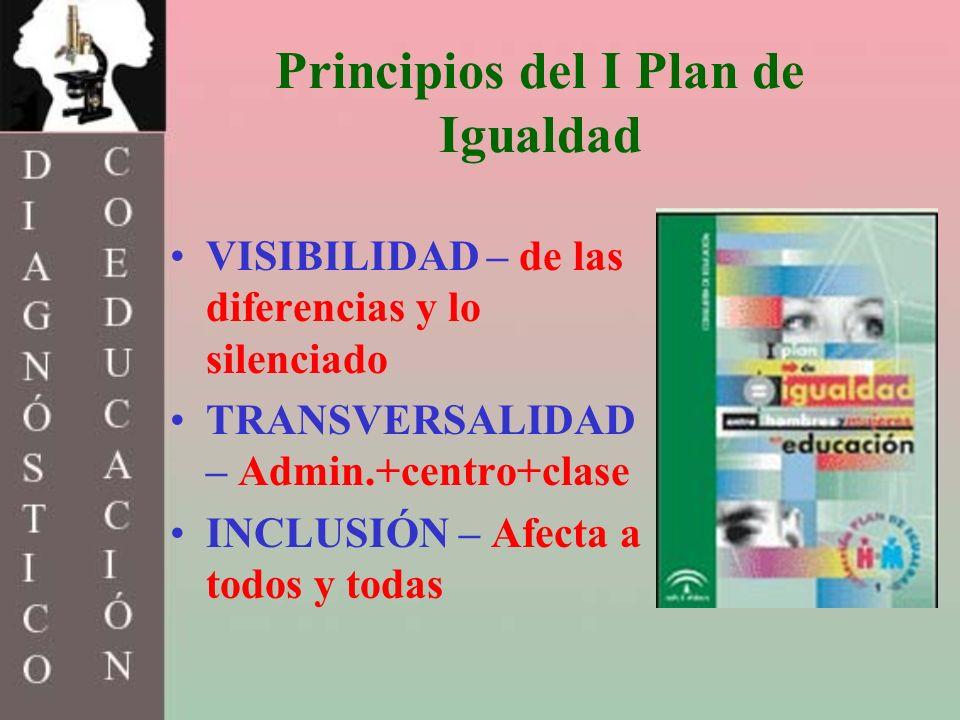 Principios del I Plan de Igualdad VISIBILIDAD – de las diferencias y lo silenciado TRANSVERSALIDAD – Admin.+centro+clase INCLUSIÓN – Afecta a todos y