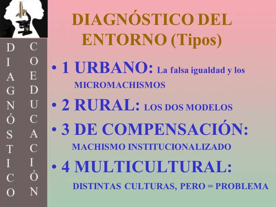 DIAGNÓSTICO DEL ENTORNO (Tipos) 1 URBANO: La falsa igualdad y los MICROMACHISMOS 2 RURAL: LOS DOS MODELOS 3 DE COMPENSACIÓN: MACHISMO INSTITUCIONALIZA
