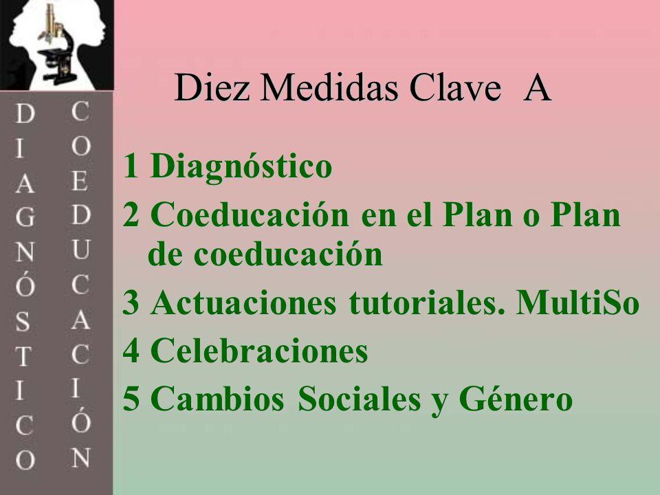 Diez Medidas Clave A 1 Diagnóstico 2 Coeducación en el Plan o Plan de coeducación 3 Actuaciones tutoriales. MultiSo 4 Celebraciones 5 Cambios Sociales