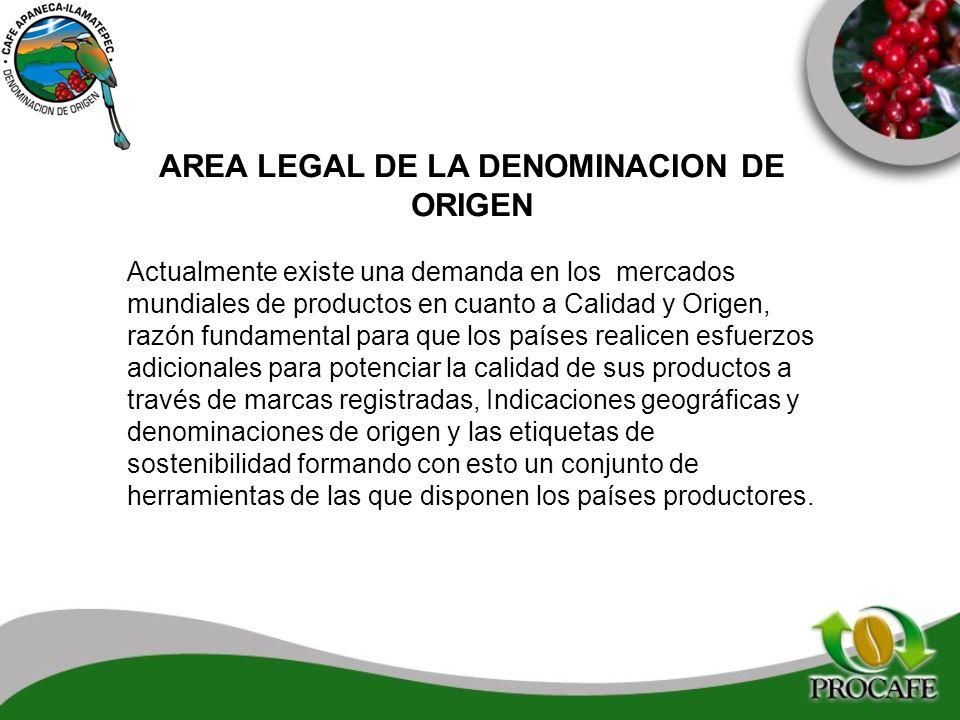 AREA LEGAL DE LA DENOMINACION DE ORIGEN Actualmente existe una demanda en los mercados mundiales de productos en cuanto a Calidad y Origen, razón fund