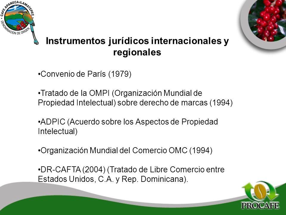 Instrumentos jurídicos internacionales y regionales Convenio de París (1979) Tratado de la OMPI (Organización Mundial de Propiedad Intelectual) sobre