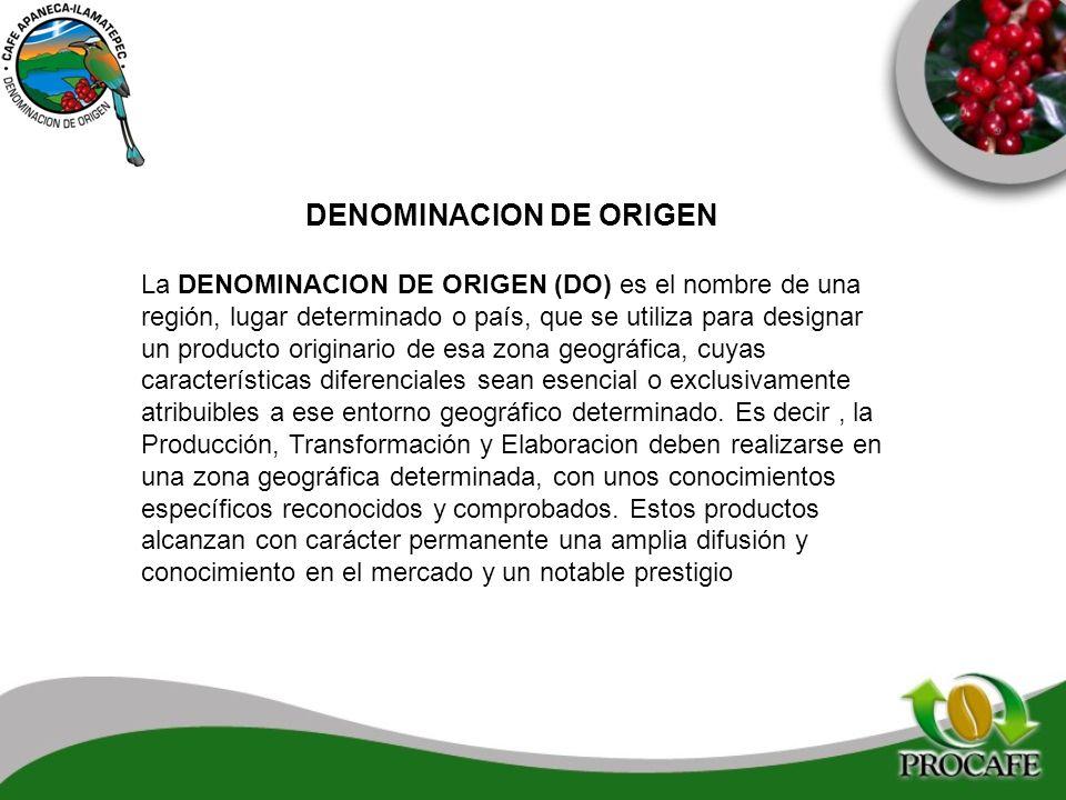 DENOMINACION DE ORIGEN La DENOMINACION DE ORIGEN (DO) es el nombre de una región, lugar determinado o país, que se utiliza para designar un producto o