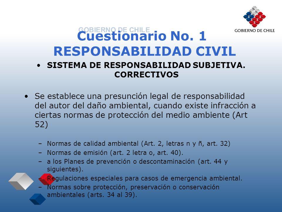 Cuestionario No. 1 RESPONSABILIDAD CIVIL SISTEMA DE RESPONSABILIDAD SUBJETIVA. CORRECTIVOS Se establece una presunción legal de responsabilidad del au