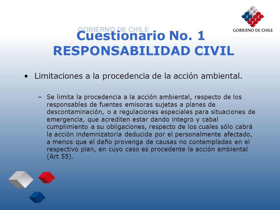 Cuestionario No. 1 RESPONSABILIDAD CIVIL Limitaciones a la procedencia de la acción ambiental. –Se limita la procedencia a la acción ambiental, respec
