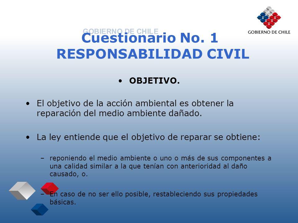 Cuestionario No. 1 RESPONSABILIDAD CIVIL OBJETIVO. El objetivo de la acción ambiental es obtener la reparación del medio ambiente dañado. La ley entie