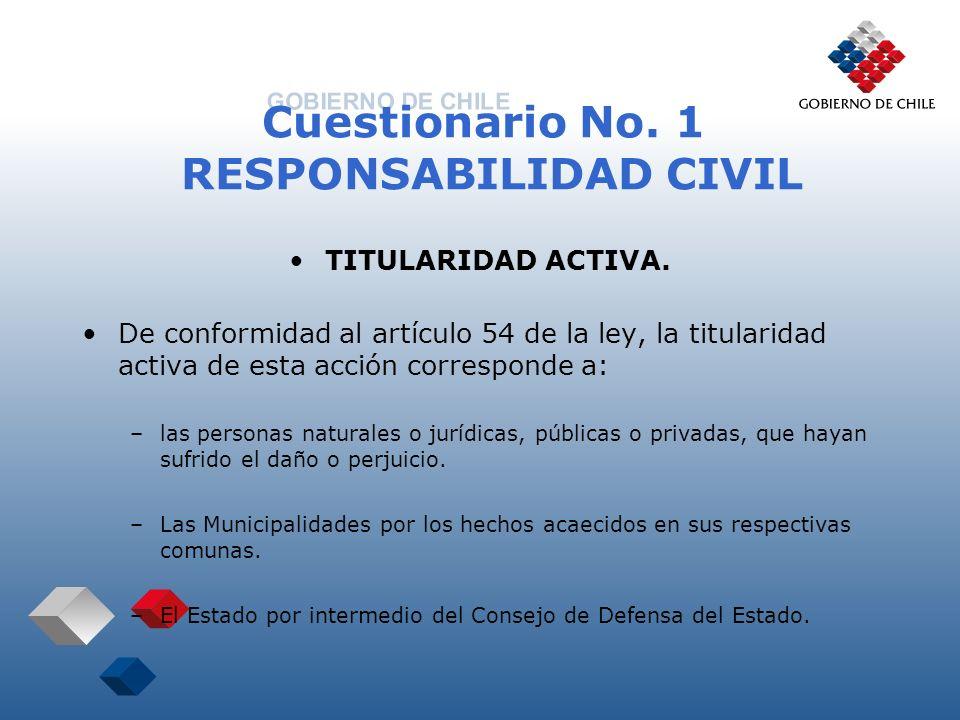 Cuestionario No. 1 RESPONSABILIDAD CIVIL TITULARIDAD ACTIVA. De conformidad al artículo 54 de la ley, la titularidad activa de esta acción corresponde