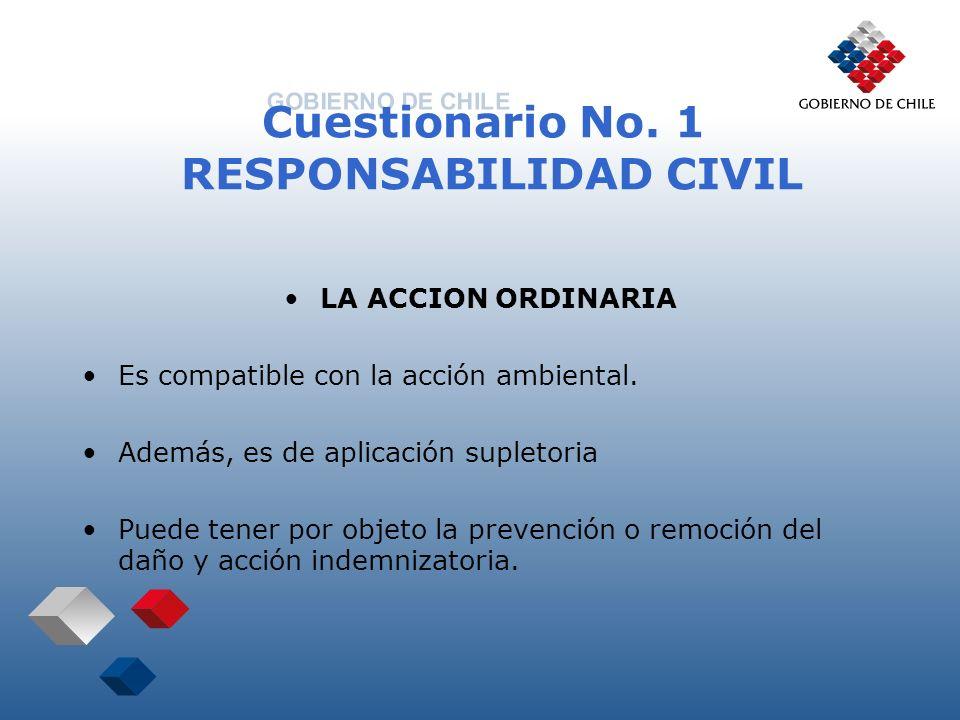 Cuestionario No. 1 RESPONSABILIDAD CIVIL LA ACCION ORDINARIA Es compatible con la acción ambiental. Además, es de aplicación supletoria Puede tener po