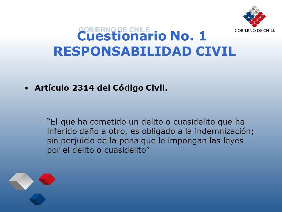 Cuestionario No. 1 RESPONSABILIDAD CIVIL Artículo 2314 del Código Civil. –El que ha cometido un delito o cuasidelito que ha inferido daño a otro, es o