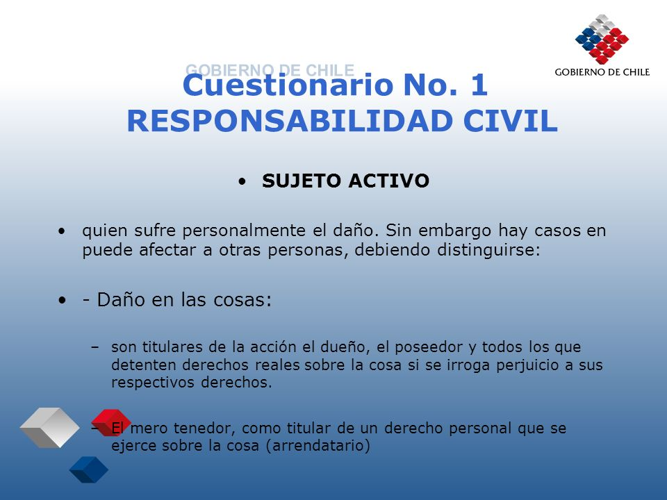 Cuestionario No. 1 RESPONSABILIDAD CIVIL SUJETO ACTIVO quien sufre personalmente el daño. Sin embargo hay casos en puede afectar a otras personas, deb