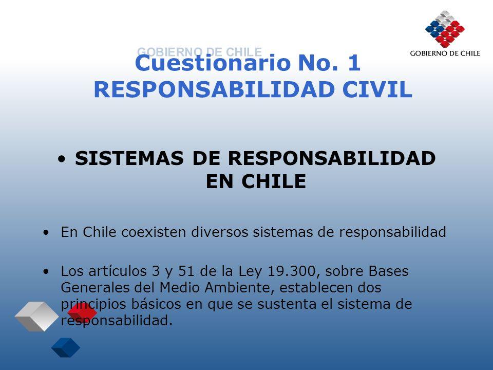 Cuestionario No. 1 RESPONSABILIDAD CIVIL SISTEMAS DE RESPONSABILIDAD EN CHILE En Chile coexisten diversos sistemas de responsabilidad Los artículos 3
