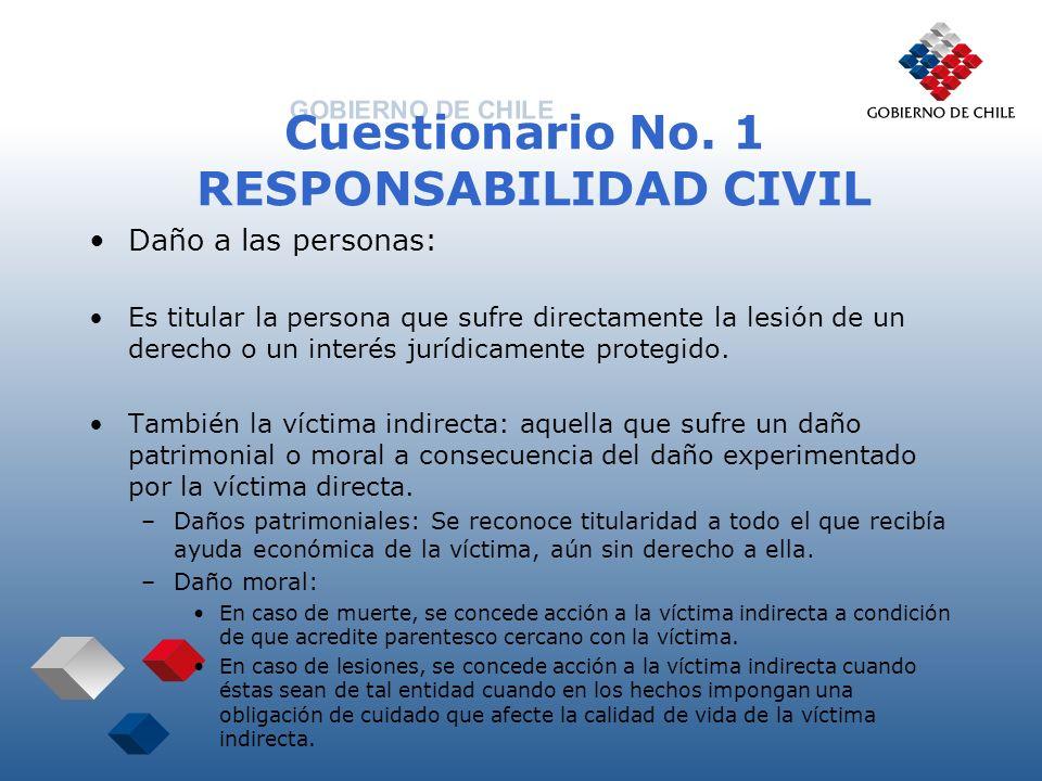 Cuestionario No. 1 RESPONSABILIDAD CIVIL Daño a las personas: Es titular la persona que sufre directamente la lesión de un derecho o un interés jurídi