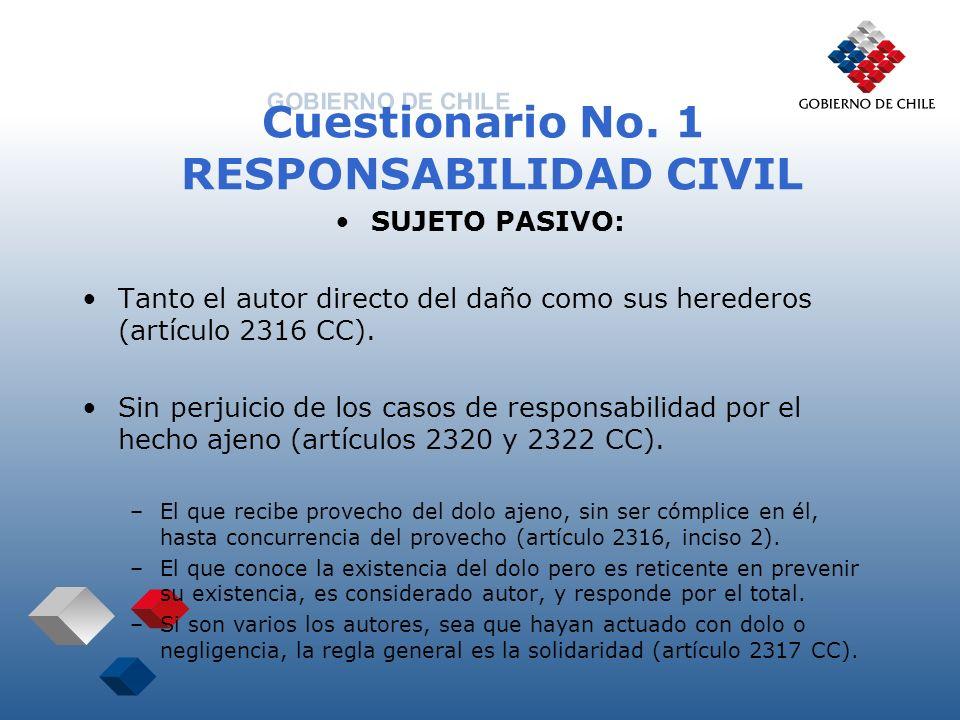 Cuestionario No. 1 RESPONSABILIDAD CIVIL SUJETO PASIVO: Tanto el autor directo del daño como sus herederos (artículo 2316 CC). Sin perjuicio de los ca