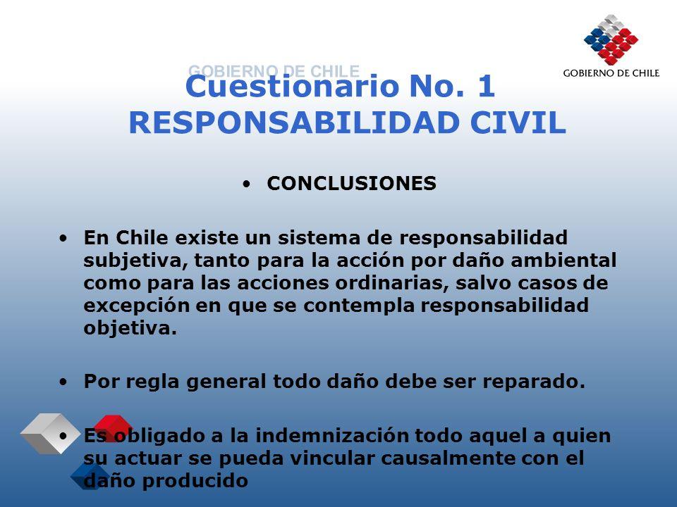 Cuestionario No. 1 RESPONSABILIDAD CIVIL CONCLUSIONES En Chile existe un sistema de responsabilidad subjetiva, tanto para la acción por daño ambiental