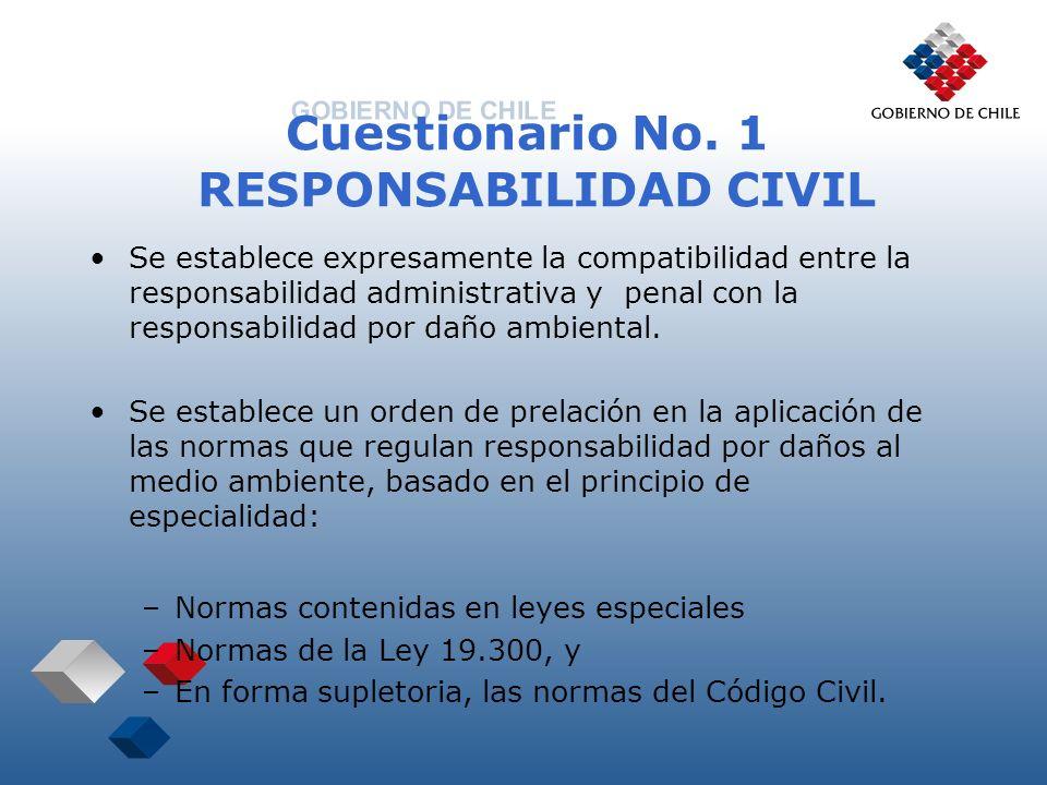 Cuestionario No. 1 RESPONSABILIDAD CIVIL Se establece expresamente la compatibilidad entre la responsabilidad administrativa y penal con la responsabi
