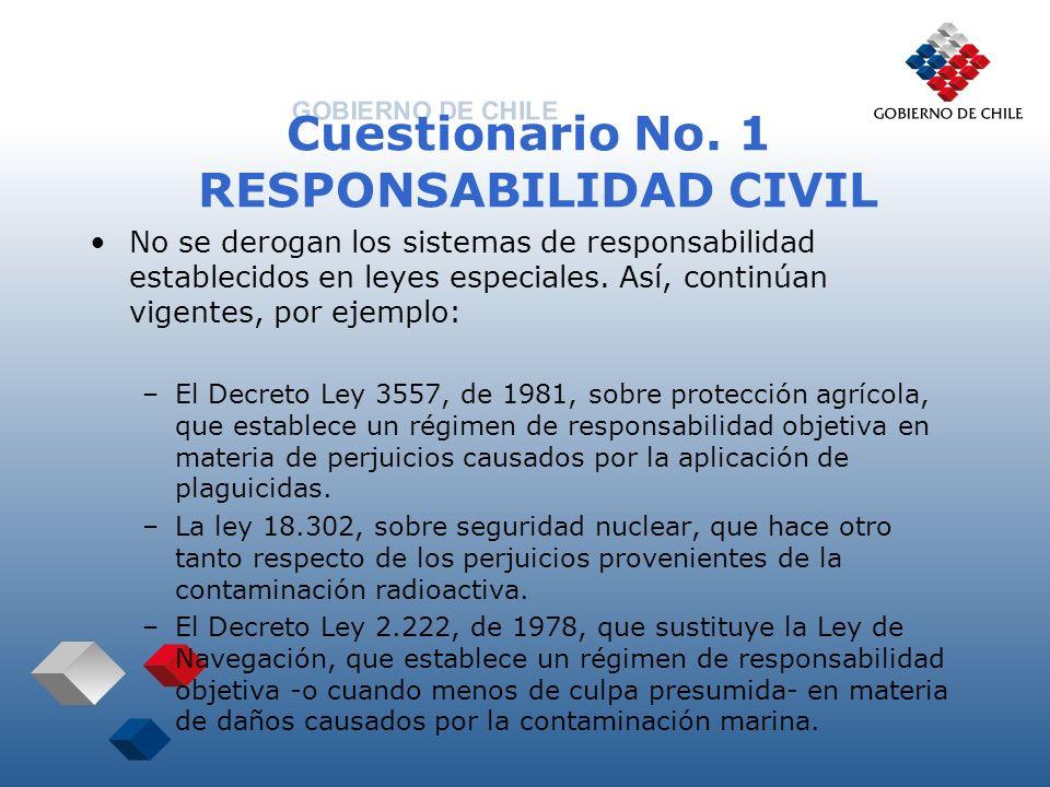 Cuestionario No. 1 RESPONSABILIDAD CIVIL No se derogan los sistemas de responsabilidad establecidos en leyes especiales. Así, continúan vigentes, por