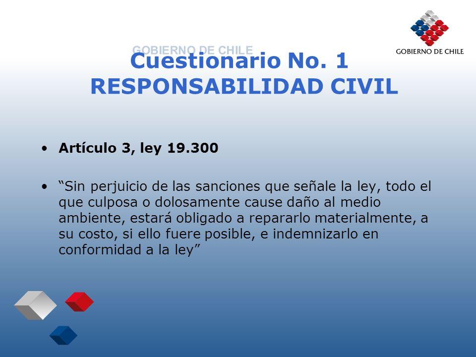 Cuestionario No. 1 RESPONSABILIDAD CIVIL Artículo 3, ley 19.300 Sin perjuicio de las sanciones que señale la ley, todo el que culposa o dolosamente ca