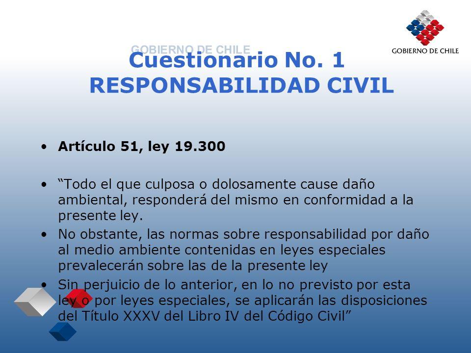 Cuestionario No. 1 RESPONSABILIDAD CIVIL Artículo 51, ley 19.300 Todo el que culposa o dolosamente cause daño ambiental, responderá del mismo en confo