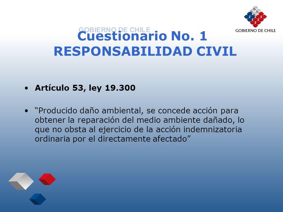 Cuestionario No. 1 RESPONSABILIDAD CIVIL Artículo 53, ley 19.300 Producido daño ambiental, se concede acción para obtener la reparación del medio ambi