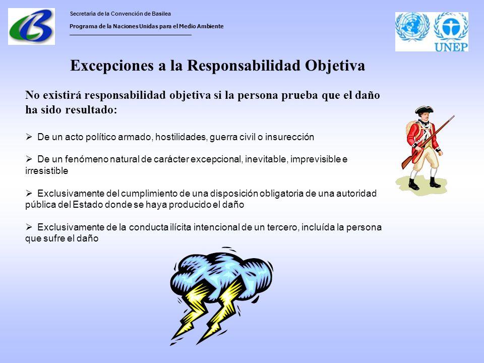 Secretaría de la Convención de Basilea Programa de la Naciones Unidas para el Medio Ambiente ___________________________________ Excepciones a la Responsabilidad Objetiva No existirá responsabilidad objetiva si la persona prueba que el daño ha sido resultado: De un acto político armado, hostilidades, guerra civil o insurección De un fenómeno natural de carácter excepcional, inevitable, imprevisible e irresistible Exclusivamente del cumplimiento de una disposición obligatoria de una autoridad pública del Estado donde se haya producido el daño Exclusivamente de la conducta ilícita intencional de un tercero, incluída la persona que sufre el daño