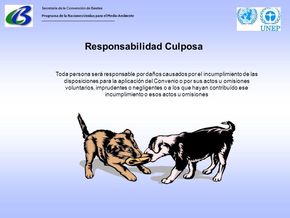 Secretaría de la Convención de Basilea Programa de la Naciones Unidas para el Medio Ambiente ___________________________________ Responsabilidad Culposa Toda persona será responsable por daños causados por el incumplimiento de las disposiciones para la aplicación del Convenio o por sus actos u omisiones voluntarios, imprudentes o negligentes o a los que hayan contribuído ese incumplimiento o esos actos u omisiones