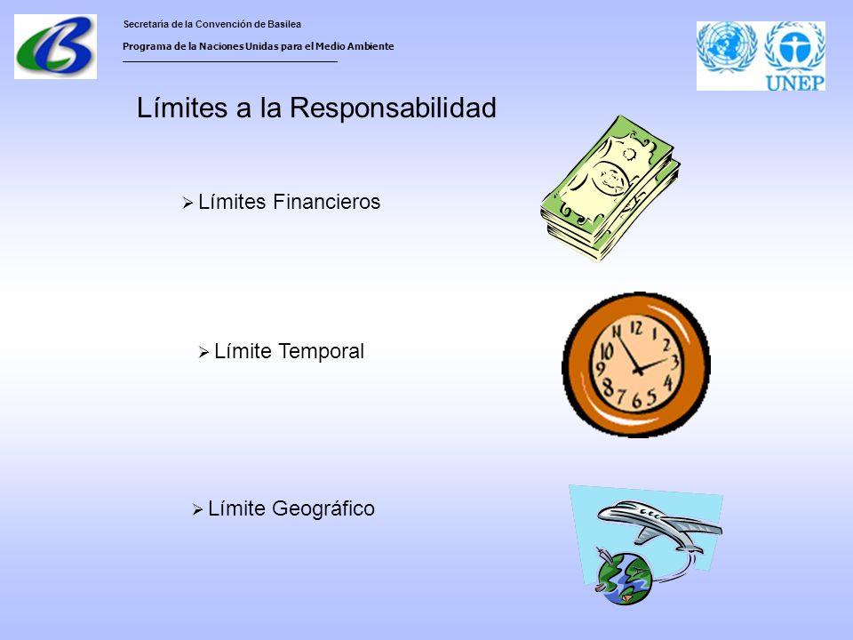 Secretaría de la Convención de Basilea Programa de la Naciones Unidas para el Medio Ambiente ___________________________________ Límites a la Responsabilidad Límites Financieros Límite Temporal Límite Geográfico