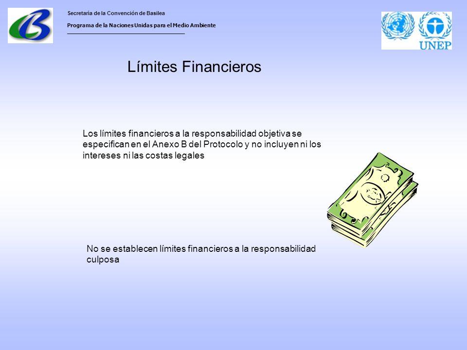Secretaría de la Convención de Basilea Programa de la Naciones Unidas para el Medio Ambiente ___________________________________ Límites Financieros No se establecen límites financieros a la responsabilidad culposa Los límites financieros a la responsabilidad objetiva se especifican en el Anexo B del Protocolo y no incluyen ni los intereses ni las costas legales