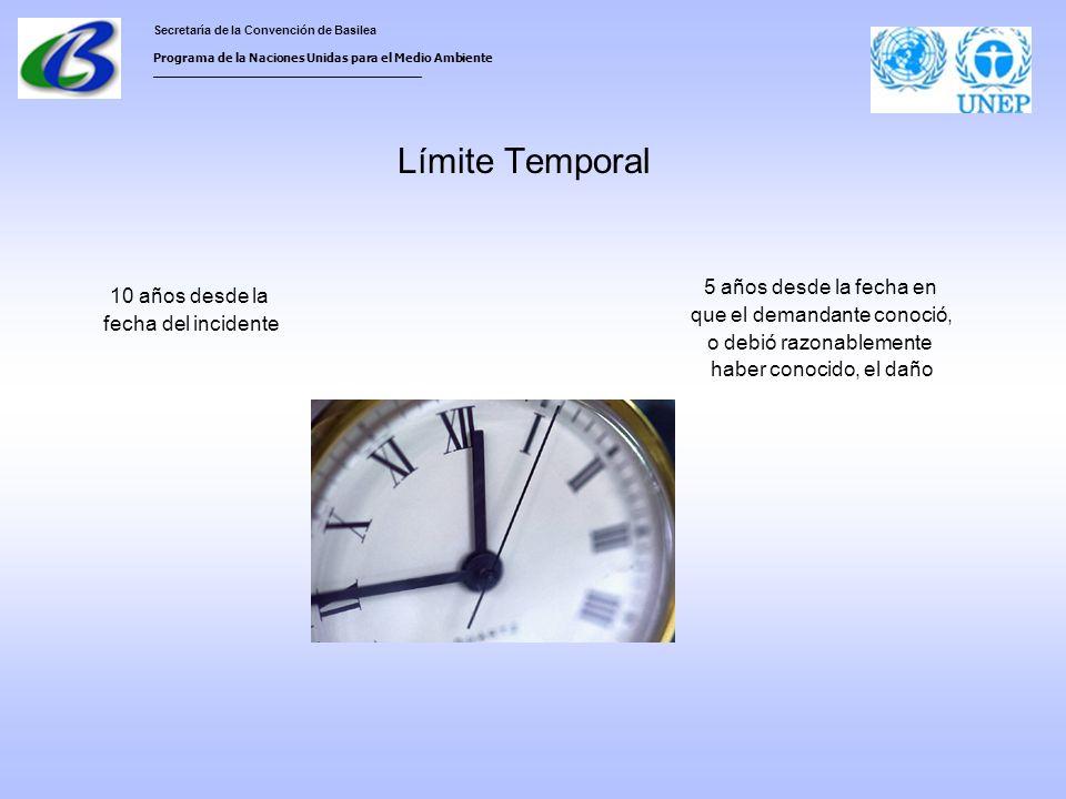 Secretaría de la Convención de Basilea Programa de la Naciones Unidas para el Medio Ambiente ___________________________________ Límite Temporal 10 años desde la fecha del incidente 5 años desde la fecha en que el demandante conoció, o debió razonablemente haber conocido, el daño