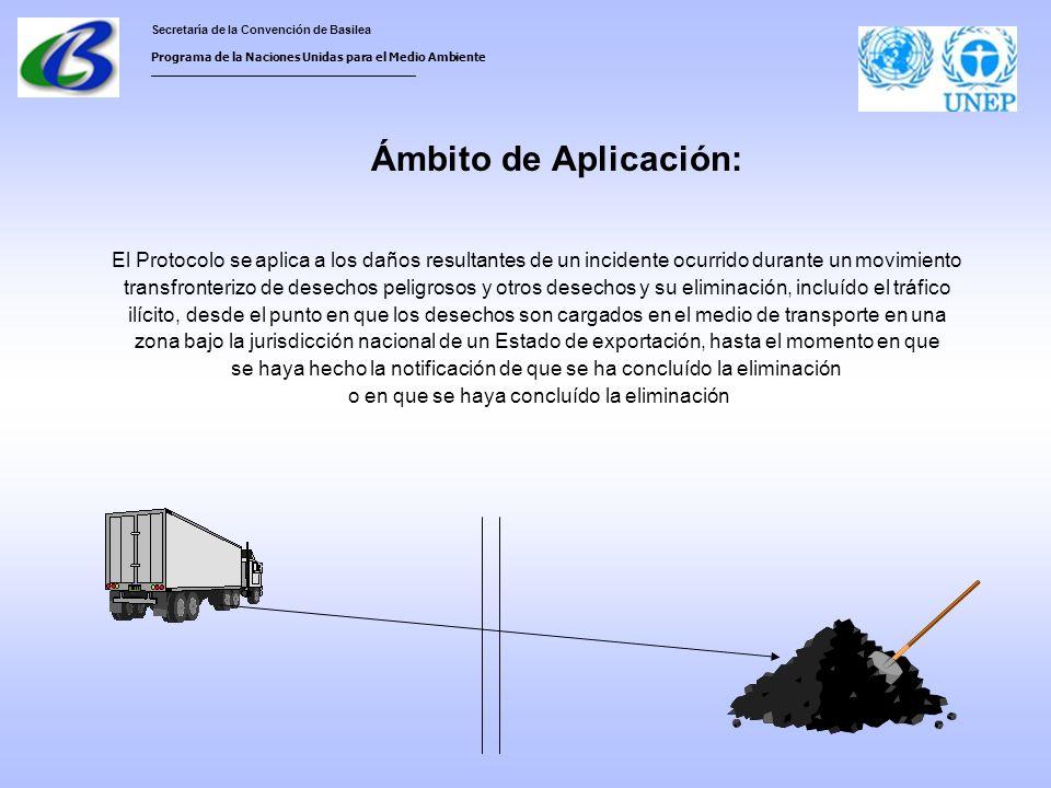 Secretaría de la Convención de Basilea Programa de la Naciones Unidas para el Medio Ambiente ___________________________________ Ámbito de Aplicación: El Protocolo se aplica a los daños resultantes de un incidente ocurrido durante un movimiento transfronterizo de desechos peligrosos y otros desechos y su eliminación, incluído el tráfico ilícito, desde el punto en que los desechos son cargados en el medio de transporte en una zona bajo la jurisdicción nacional de un Estado de exportación, hasta el momento en que se haya hecho la notificación de que se ha concluído la eliminación o en que se haya concluído la eliminación