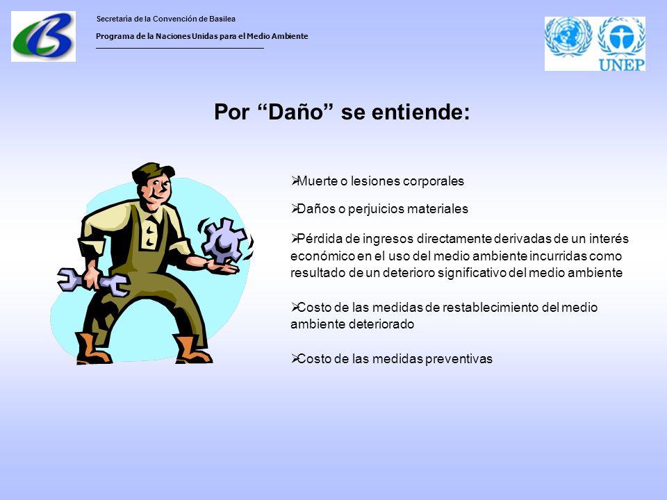 Secretaría de la Convención de Basilea Programa de la Naciones Unidas para el Medio Ambiente ___________________________________ Muerte o lesiones corporales Daños o perjuicios materiales Pérdida de ingresos directamente derivadas de un interés económico en el uso del medio ambiente incurridas como resultado de un deterioro significativo del medio ambiente Costo de las medidas de restablecimiento del medio ambiente deteriorado Costo de las medidas preventivas Por Daño se entiende: