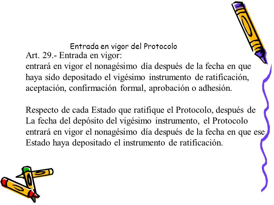 Entrada en vigor del Protocolo Art.