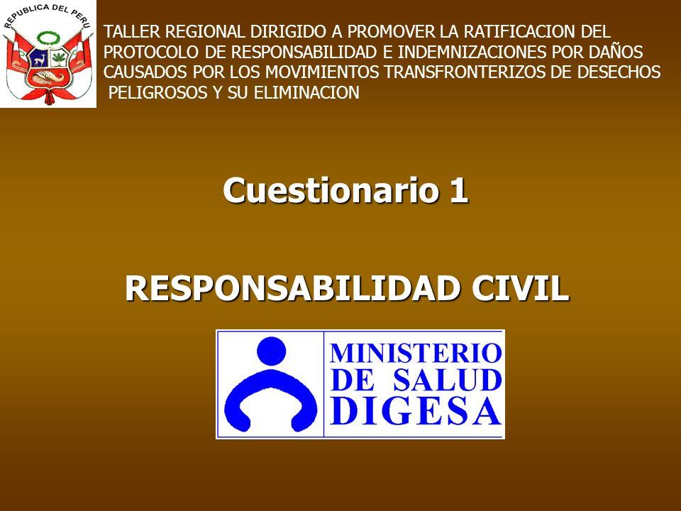 Cuestionario 1 RESPONSABILIDAD CIVIL TALLER REGIONAL DIRIGIDO A PROMOVER LA RATIFICACION DEL PROTOCOLO DE RESPONSABILIDAD E INDEMNIZACIONES POR DAÑOS