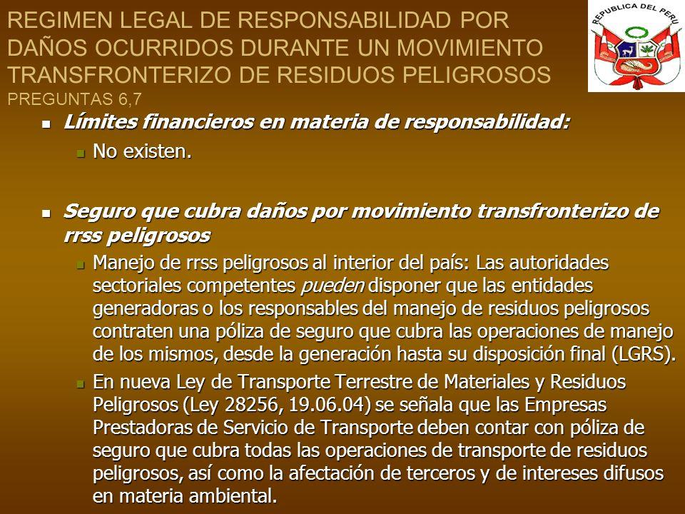 REGIMEN LEGAL DE RESPONSABILIDAD POR DAÑOS OCURRIDOS DURANTE UN MOVIMIENTO TRANSFRONTERIZO DE RESIDUOS PELIGROSOS PREGUNTAS 6,7 Límites financieros en