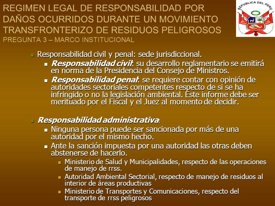 REGIMEN LEGAL DE RESPONSABILIDAD POR DAÑOS OCURRIDOS DURANTE UN MOVIMIENTO TRANSFRONTERIZO DE RESIDUOS PELIGROSOS PREGUNTA 3 – MARCO INSTITUCIONAL Res