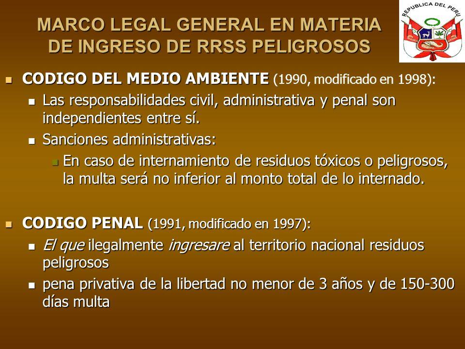 MARCO LEGAL GENERAL EN MATERIA DE INGRESO DE RRSS PELIGROSOS CODIGO DEL MEDIO AMBIENTE CODIGO DEL MEDIO AMBIENTE (1990, modificado en 1998): Las respo