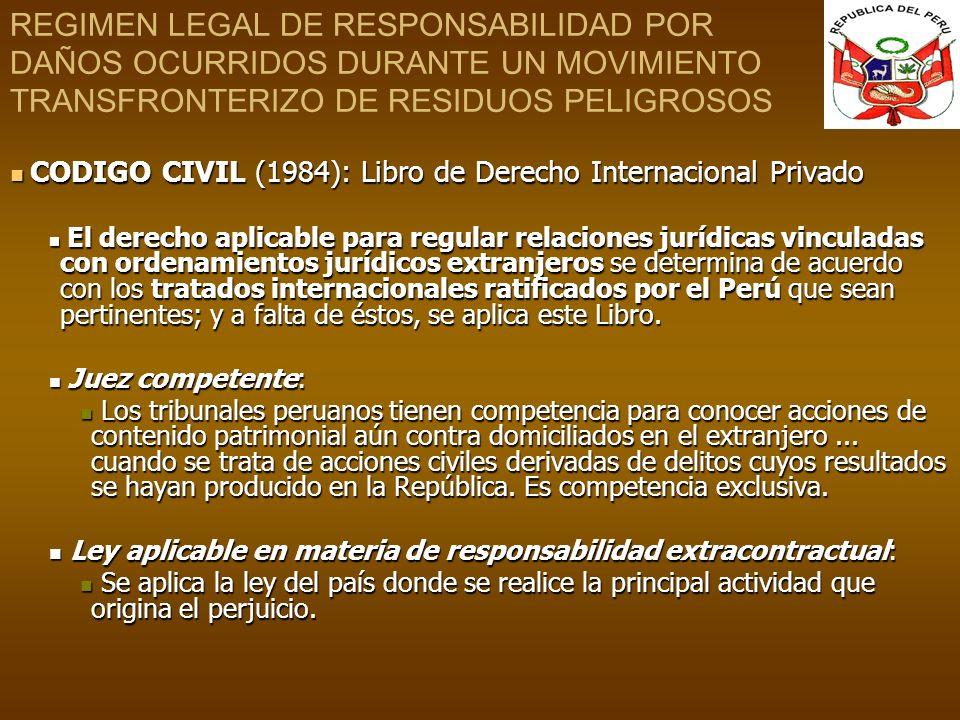 REGIMEN LEGAL DE RESPONSABILIDAD POR DAÑOS OCURRIDOS DURANTE UN MOVIMIENTO TRANSFRONTERIZO DE RESIDUOS PELIGROSOS CODIGO CIVIL (1984): Libro de Derech