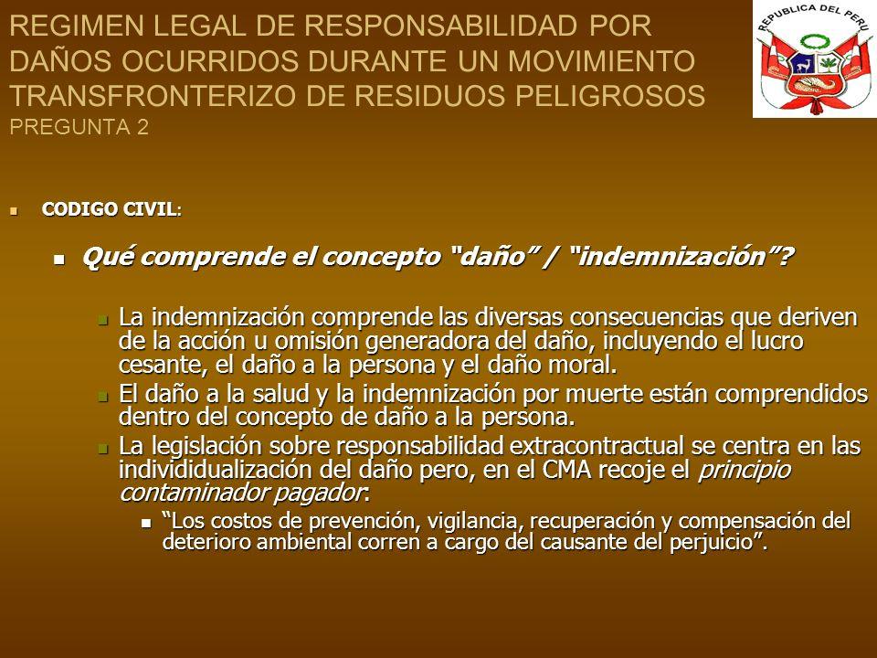 REGIMEN LEGAL DE RESPONSABILIDAD POR DAÑOS OCURRIDOS DURANTE UN MOVIMIENTO TRANSFRONTERIZO DE RESIDUOS PELIGROSOS PREGUNTA 2 CODIGO CIVIL : CODIGO CIV