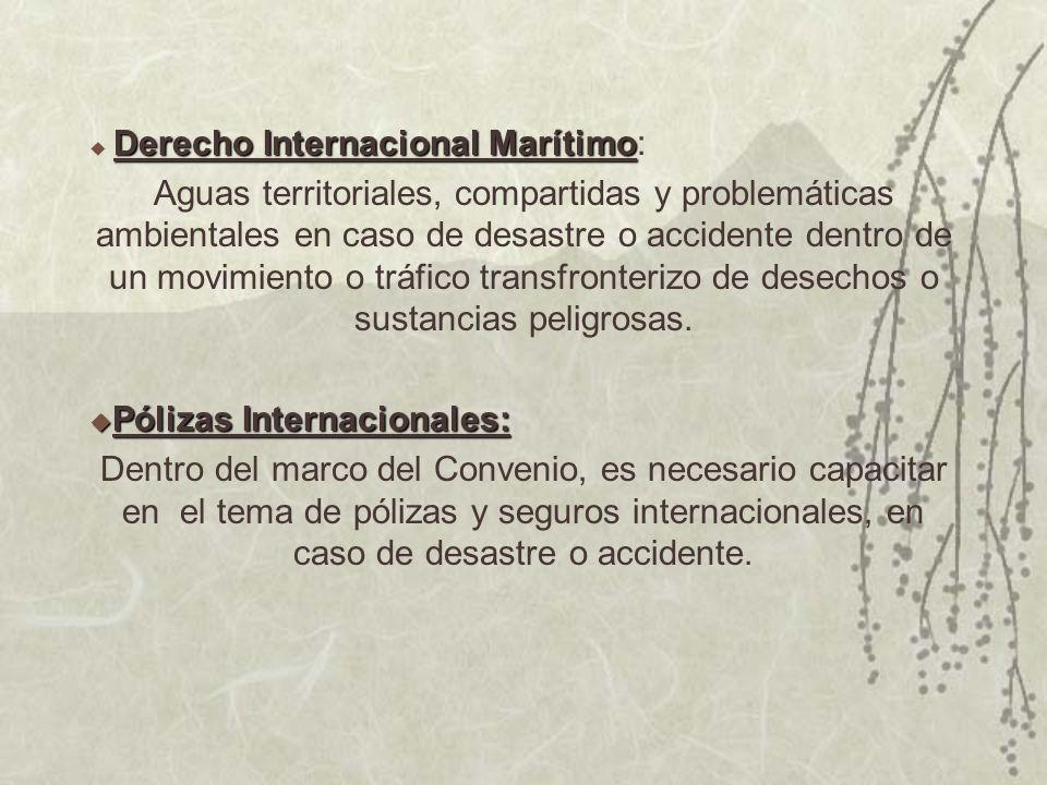 Derecho Internacional Marítimo Derecho Internacional Marítimo: Aguas territoriales, compartidas y problemáticas ambientales en caso de desastre o accidente dentro de un movimiento o tráfico transfronterizo de desechos o sustancias peligrosas.