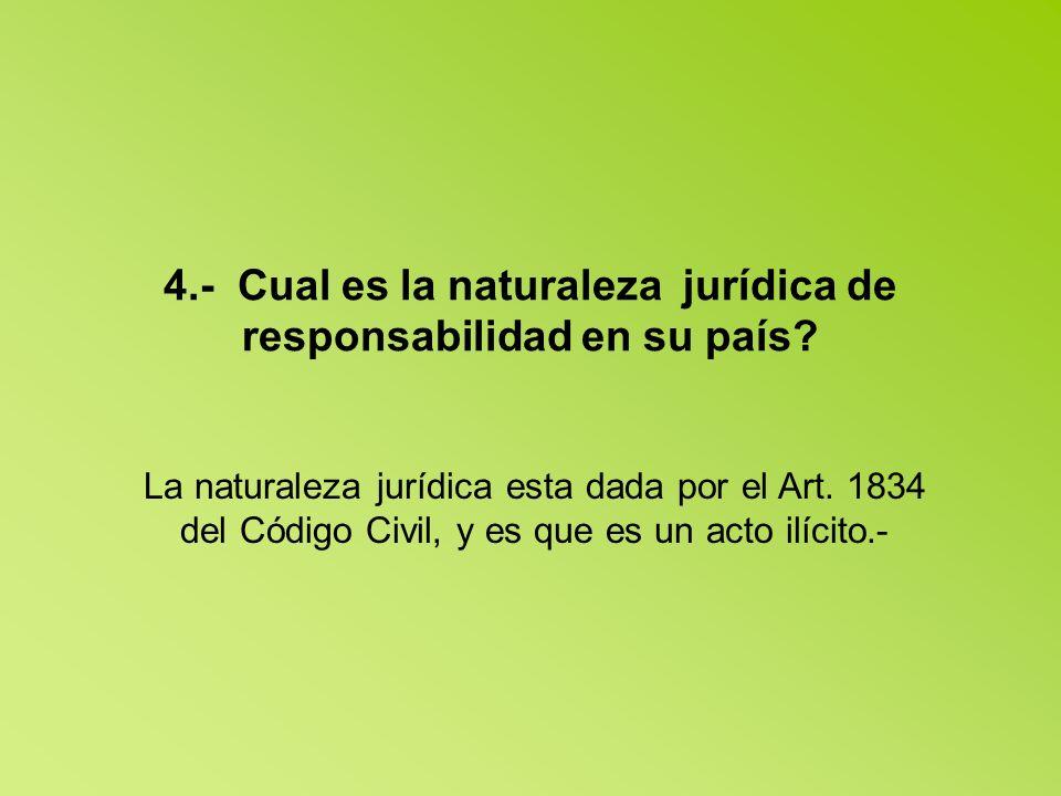 4.- Cual es la naturaleza jurídica de responsabilidad en su país.
