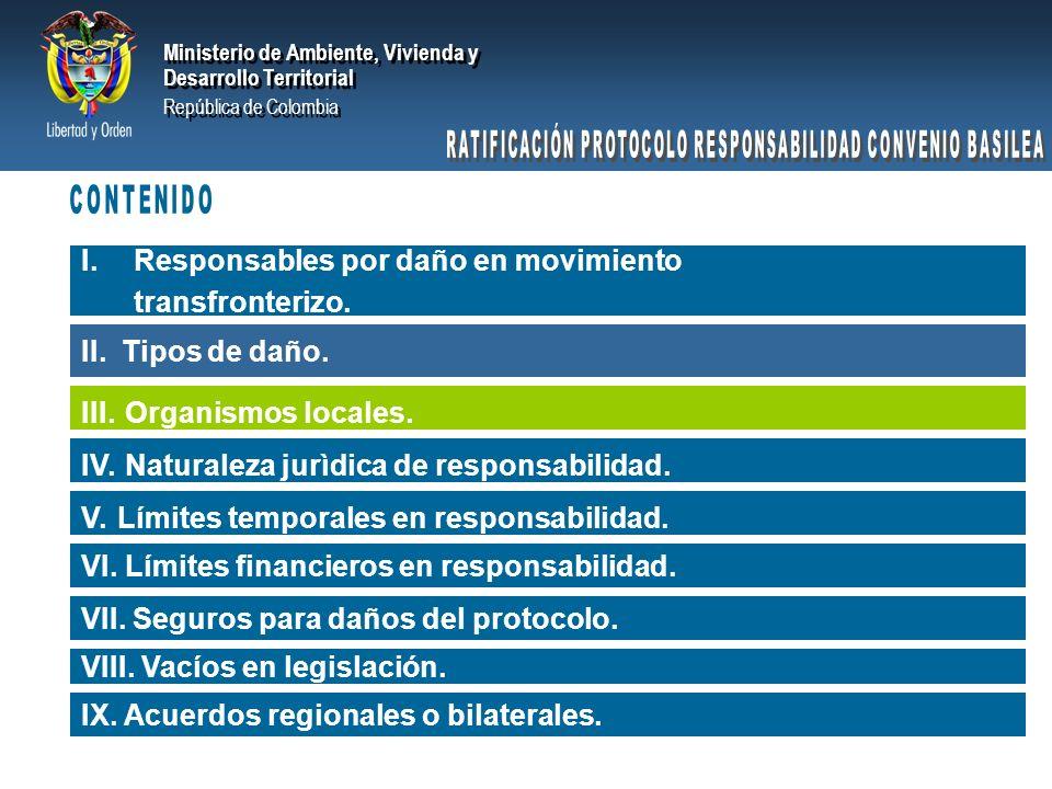 Ministerio de Ambiente, Vivienda y Desarrollo Territorial República de Colombia Ministerio de Ambiente, Vivienda y Desarrollo Territorial República de Colombia Daño inmaterial: aquéllos que, por definición, no pueden ser valorables en dinero.