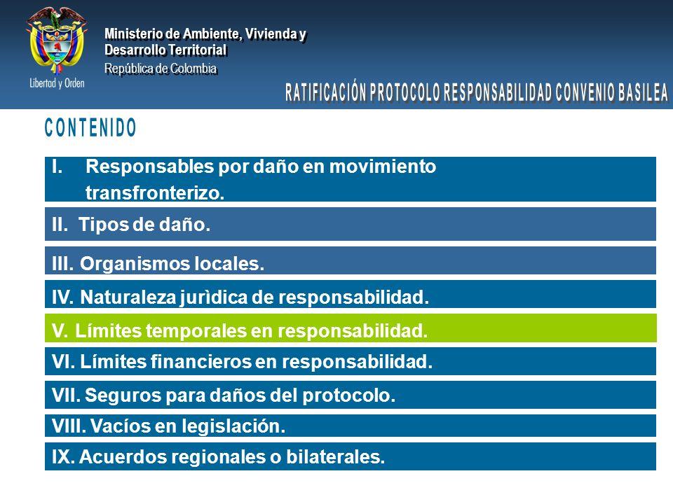 Ministerio de Ambiente, Vivienda y Desarrollo Territorial República de Colombia Ministerio de Ambiente, Vivienda y Desarrollo Territorial República de Colombia Está supeditada al deber que asiste al generador de un daño de repararlo totalmente.