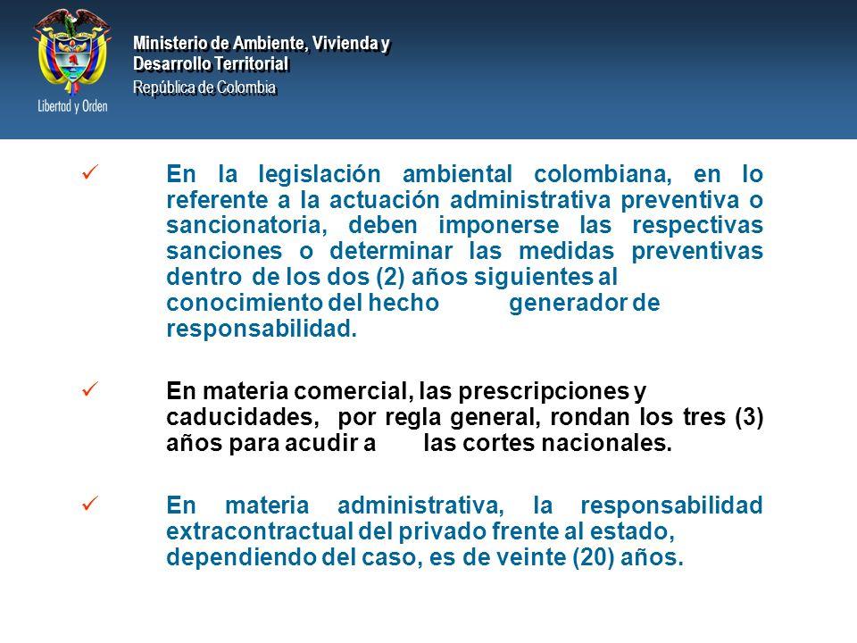 Ministerio de Ambiente, Vivienda y Desarrollo Territorial República de Colombia Ministerio de Ambiente, Vivienda y Desarrollo Territorial República de Colombia Responden a los fenómenos de caducidad y prescripción.