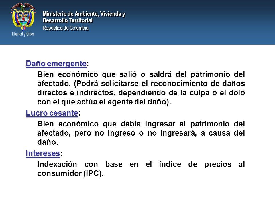 Ministerio de Ambiente, Vivienda y Desarrollo Territorial República de Colombia Ministerio de Ambiente, Vivienda y Desarrollo Territorial República de Colombia Están determinados según el daño y sus características específicas.