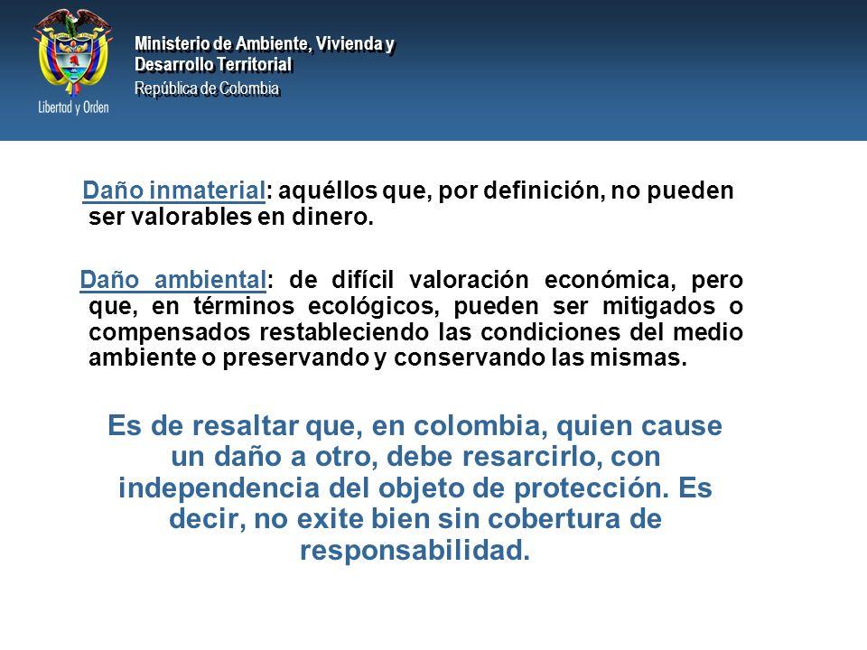 Ministerio de Ambiente, Vivienda y Desarrollo Territorial República de Colombia Ministerio de Ambiente, Vivienda y Desarrollo Territorial República de Colombia Daño: perjuicio económico que una persona causa a otro que debe ser reparado, ya sea ocasionado en la órbita de un contrato como a la luz de la responsabilidad extracontractual.