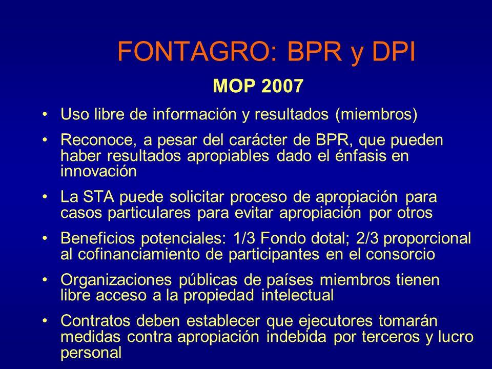 MOP 2007 Uso libre de información y resultados (miembros) Reconoce, a pesar del carácter de BPR, que pueden haber resultados apropiables dado el énfas