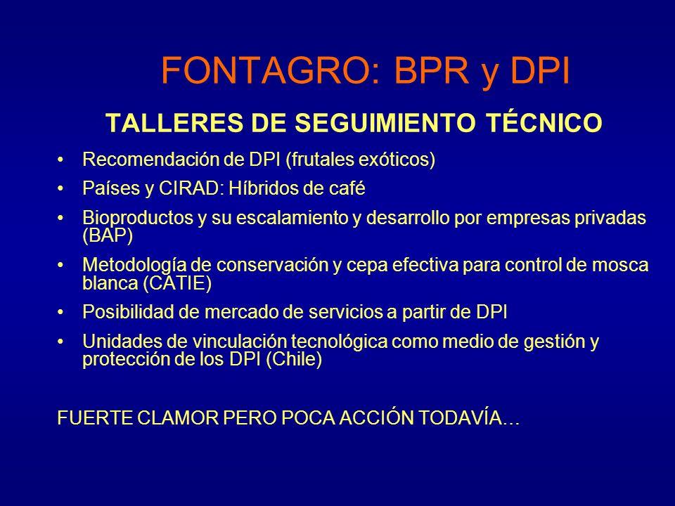 TALLERES DE SEGUIMIENTO TÉCNICO Recomendación de DPI (frutales exóticos) Países y CIRAD: Híbridos de café Bioproductos y su escalamiento y desarrollo