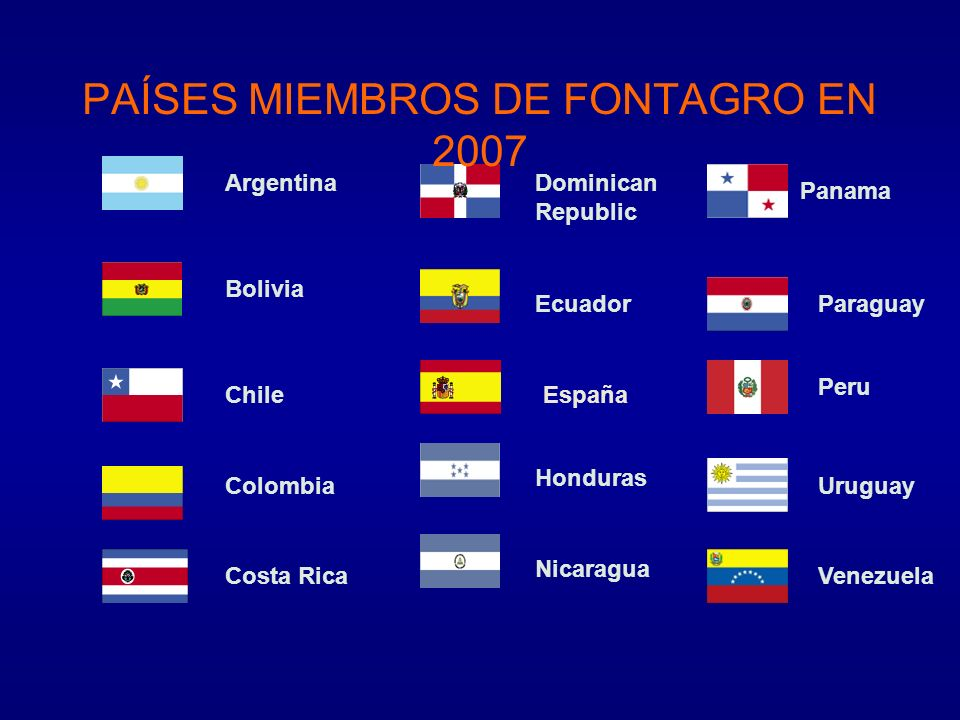 Argentina Bolivia Chile Colombia Costa Rica Dominican Republic Ecuador Nicaragua Panama Paraguay Honduras Peru Venezuela Uruguay PAÍSES MIEMBROS DE FO
