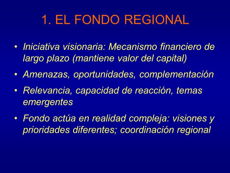 1. EL FONDO REGIONAL Iniciativa visionaria: Mecanismo financiero de largo plazo (mantiene valor del capital) Amenazas, oportunidades, complementación